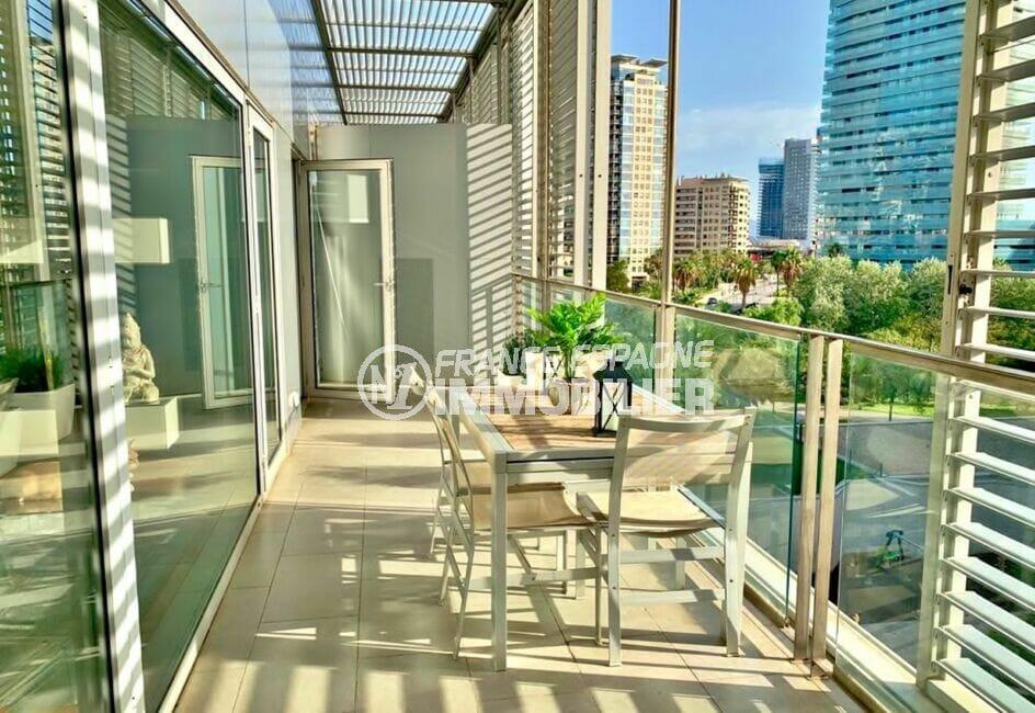 appartement à vendre costa brava vue mer, 160 m², luxe, 3 chambres, 2 terrasses vérandas superbe vue