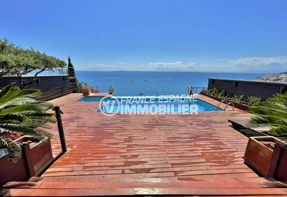 rosas immo: villa 227 m² 3 chambres, piscine, 2 terrasses, vue mer