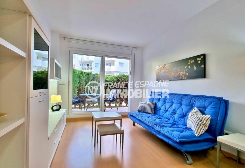 achat appartement santa margarita rosas, 2 pièces 53 m², séjour clair avec accès terrasse et jardin