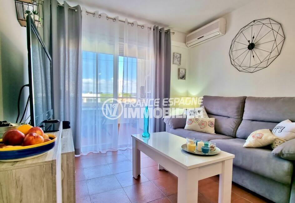 appartement a vendre a rosas, 2 pièces 48 m²,  salon / séjour avec accès terrasse 12 m²