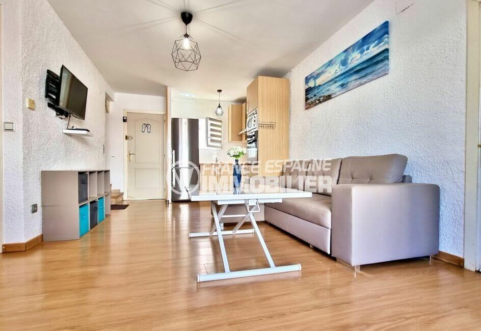 vente immobiliere rosas: villa 3 chambres 101 m², pièce à vivre avec cuisine ouverte