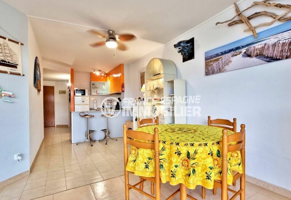 vente marina empuriabrava: appartement 40 m² 2 chambres, cuisine américaine équipée