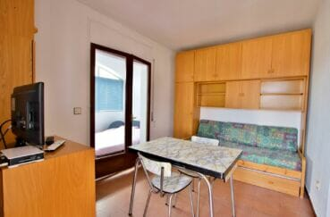 vente appartement rosas, studio 36 m², terrasse véranda vue montagne, piscine communautaire, proche plage
