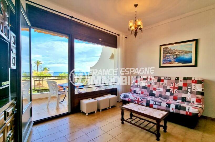 appartement a vendre a rosas, 2 chambres 55 m², séjour avec superbe vue mer