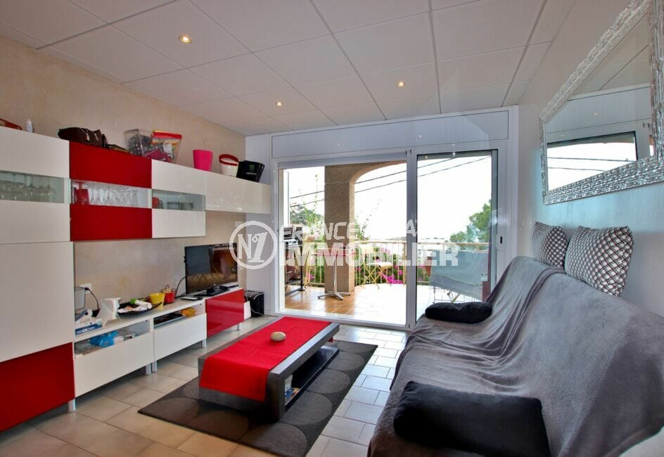 acheter appartement rosas, 2 chambres 64 m², salon / séjour avec terrasse vue mer
