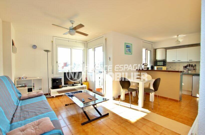 achat appartement empuriabrava, 2 pièces 41 m², salon / séjour avec cuisine américaine