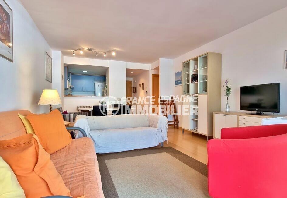 acheter appartement rosas, 3 pièces 68 m², beau salon / séjour avec cuisine américaine