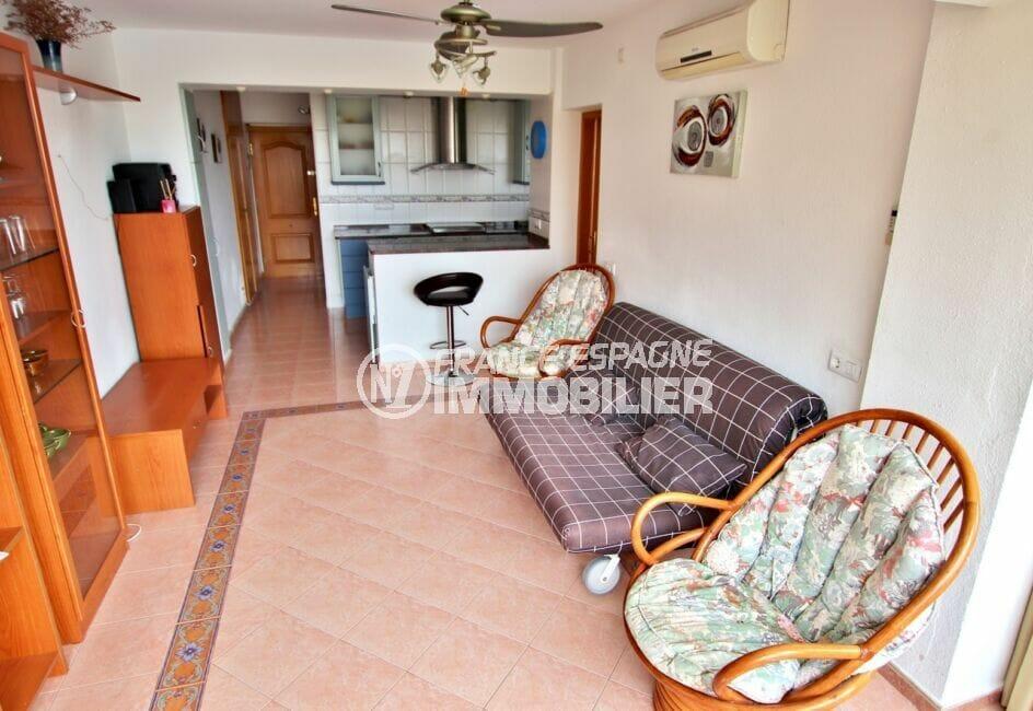 appartement à vendre à rosas espagne, 2 pièces 62 m², salon / séjour avec cuisine ouverte