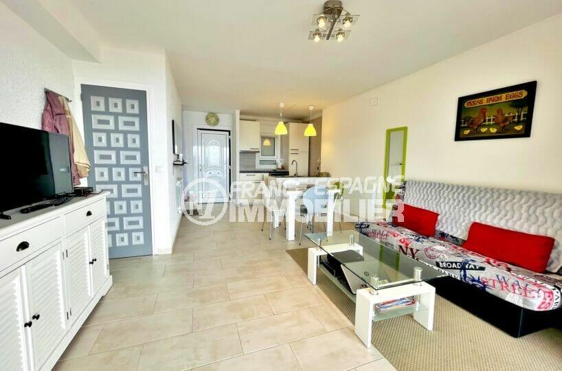 vente immobiliere rosas espagne: villa 2 chambres 71m², salon/séjour avec cuisine américaine
