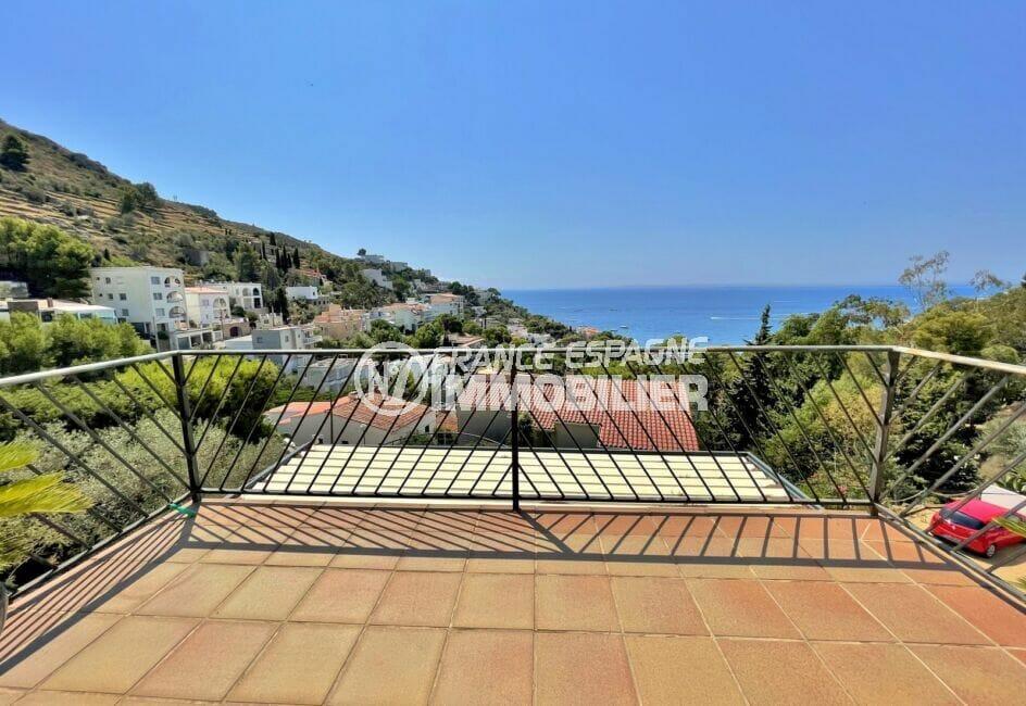 achat maison rosas, 3 chambres 124 m², terrasse de la chambre vue mer