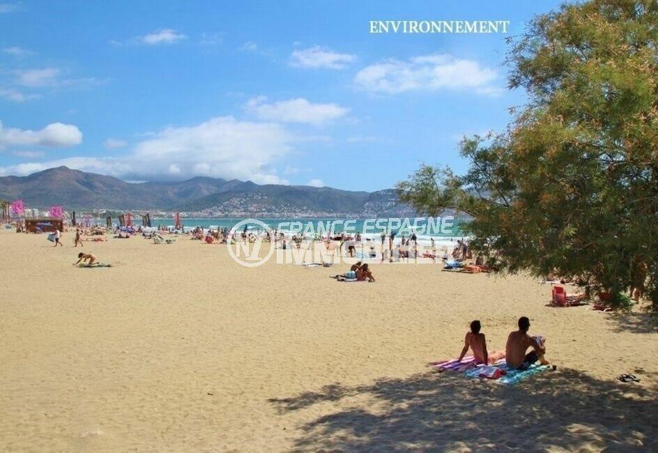 la plage ensoleillée d'empuriabrava avec sa magnifique vue sur les montages