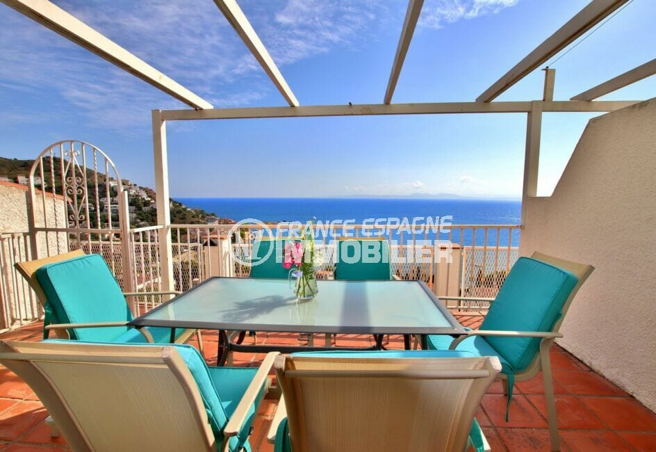la costa brava: villa 2 chambres 62m², pergola avec vue mer, exposition sud