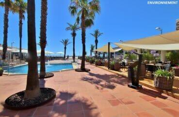 restaurants donnant directement sur la plage d'empuriabrava et une fontaine au centre