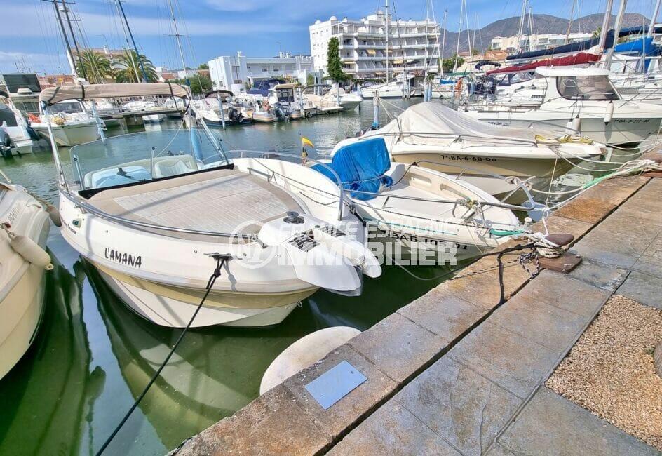 vente immobilier rosas espagne: amarre-anneau 6,5 m x 2,35 m, canal de santa margarita avec eau et électricité