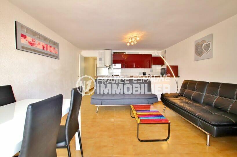 acheter appartement costa brava, 2 pièces 49 m², salon / salle à manger avec cuisine américaine