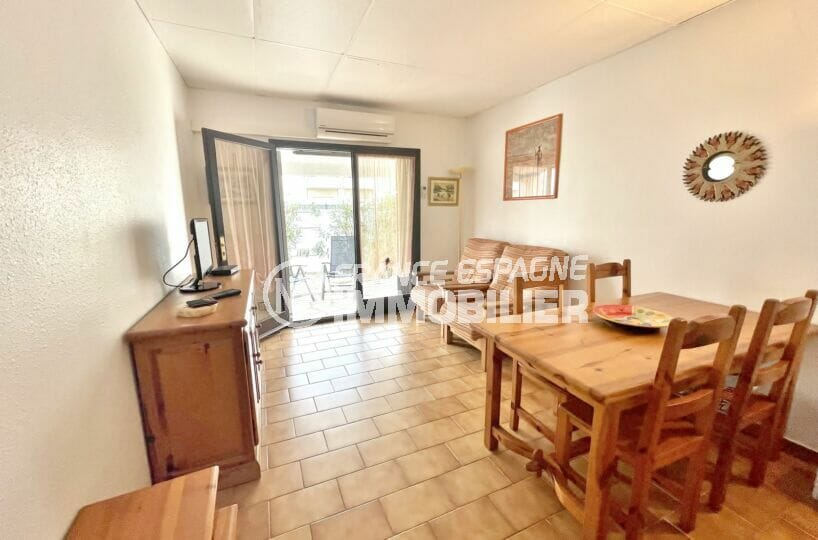 vente maison empuriabrava, 3 chambres 46 m², séjour avec accès àl a terrasse