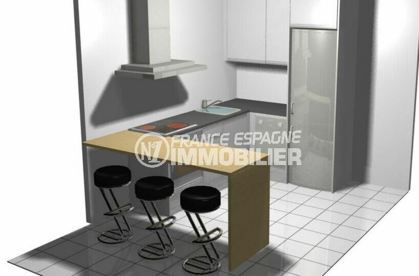 maison a vendre a empuriabrava, 2 chambres 79 m², cuisine américaine aménagée et équipée