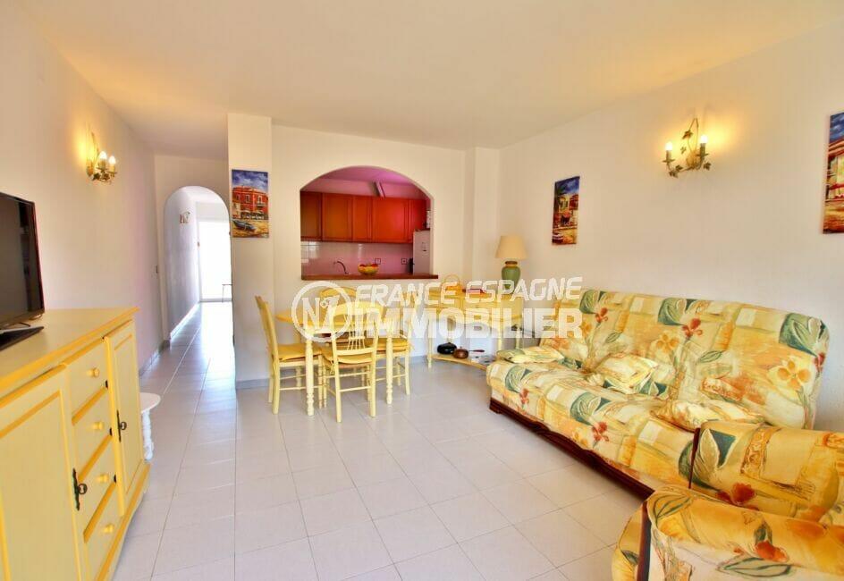 acheter appartement rosas, 2 pièces 50 m², salon / salle à manger avec cuisine ouverte