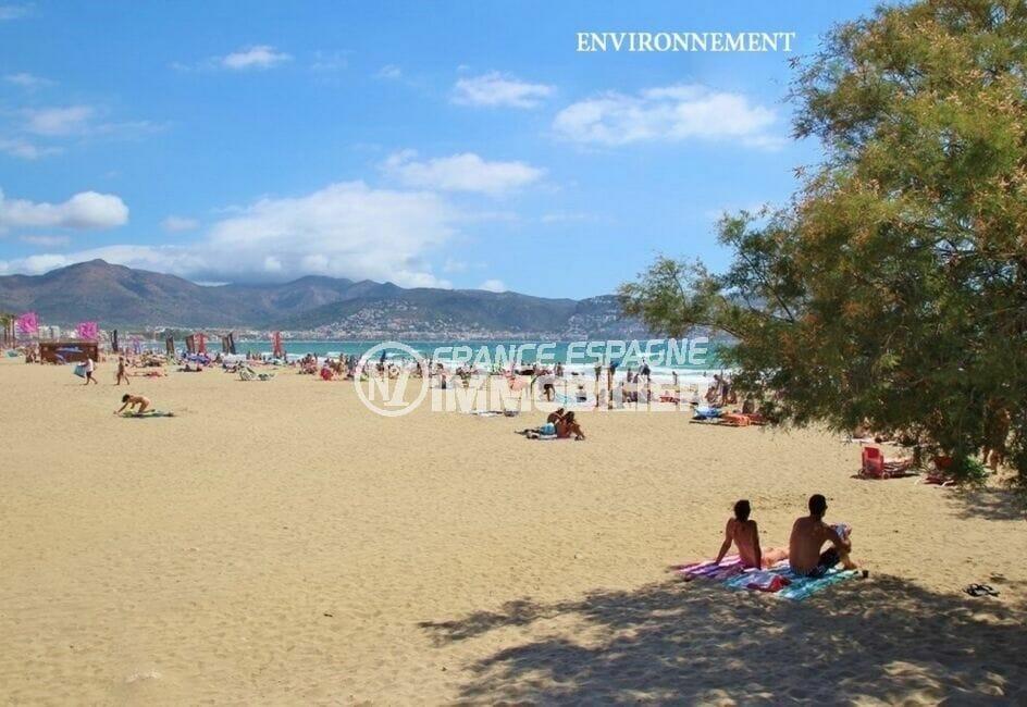 la plage ensoleillée d'empuriabrava et sa superbe vue sur les montagne